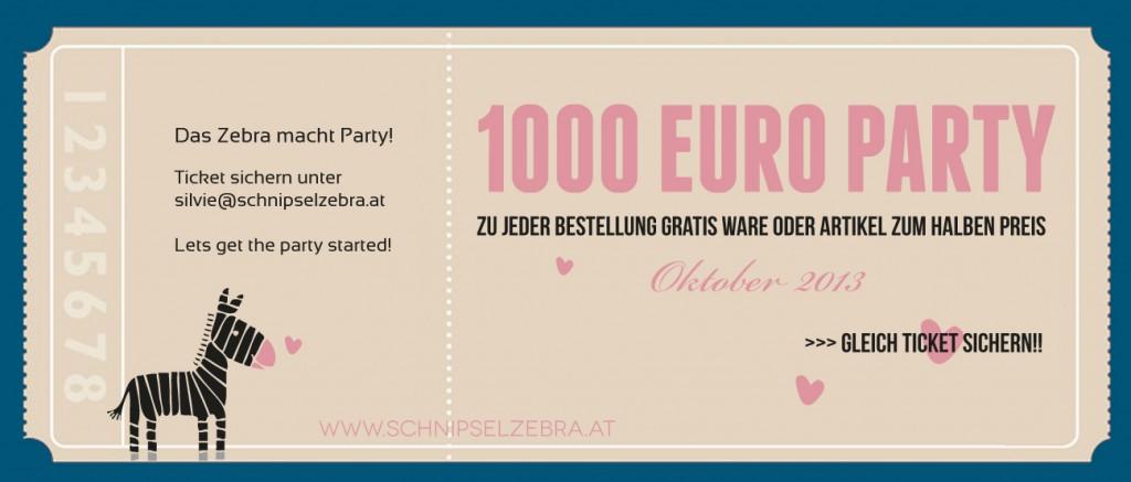 1000 euro party beim schnipselzebra.at
