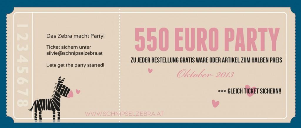 550 euro party beim schnipselzebra.at